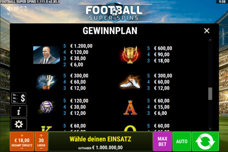 Football Super Spins :: Paytable - High Value Symbols