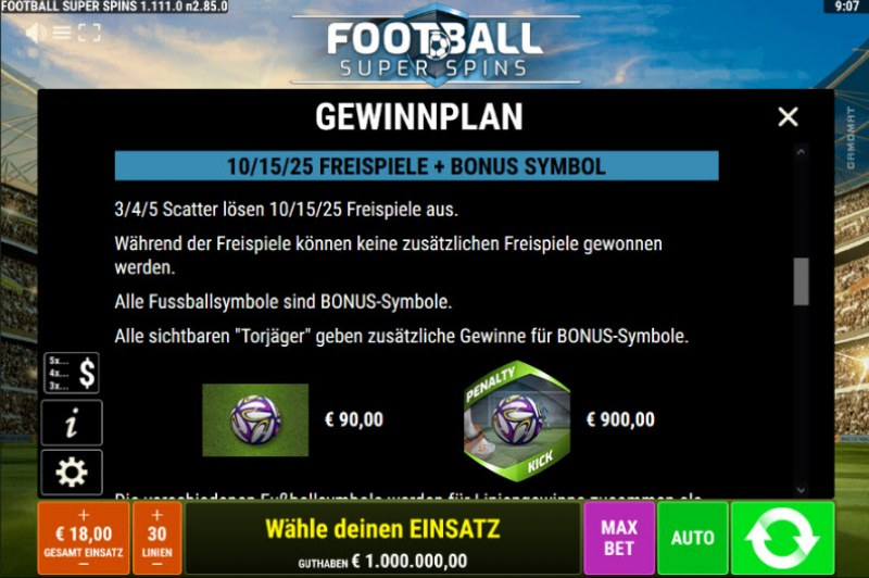 Football Super Spins :: Free Spins Rules