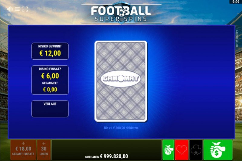 Football Super Spins :: Red or Black Gamble Feature