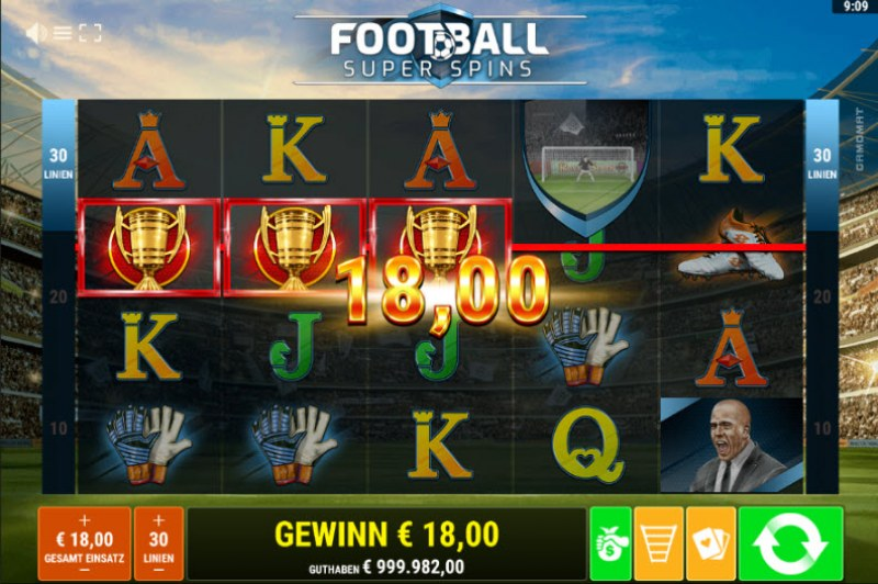 Football Super Spins :: Three of a kind win
