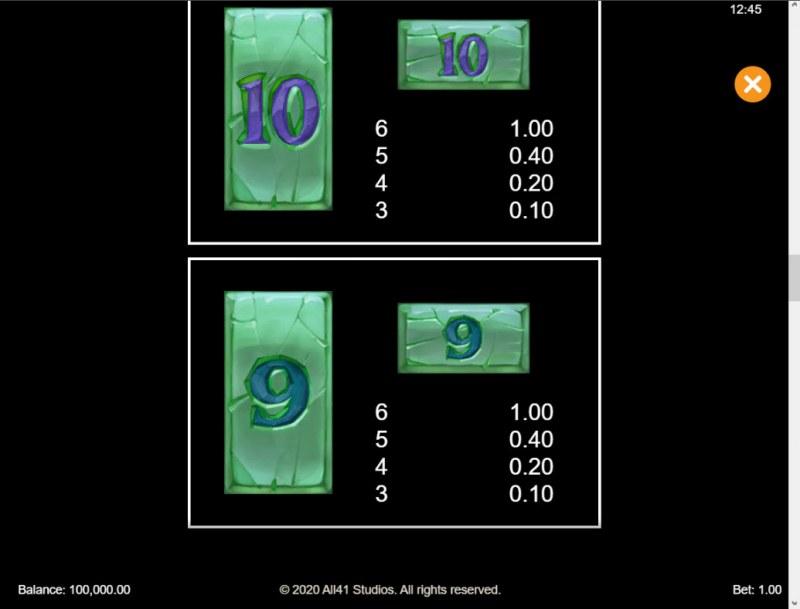 Forgotten Island Megaways :: Paytable - Low Value Symbols