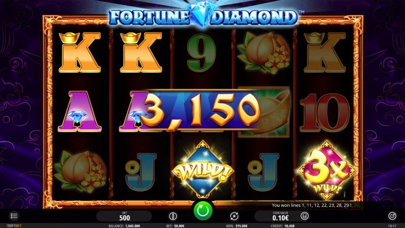 Fortune Diamond :: Multiple winning combinations leads to a big win