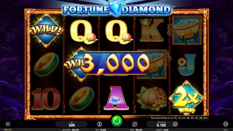 Fortune Diamond :: X2 win multiplier applied to winning 3 of a kind