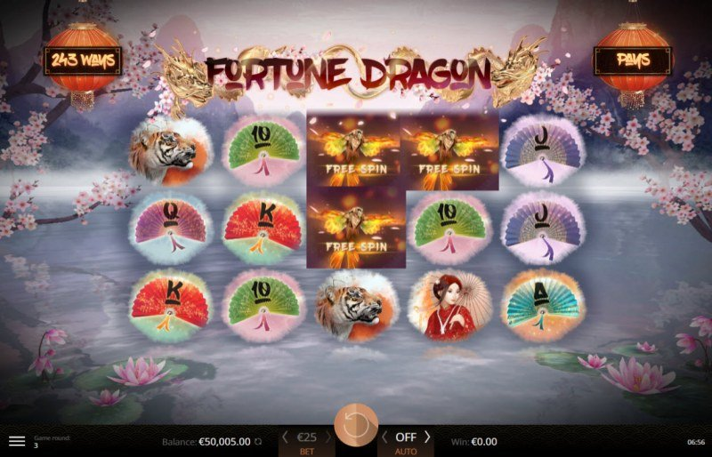 Fortune Dragon :: Scatter symbols triggers the free spins feature