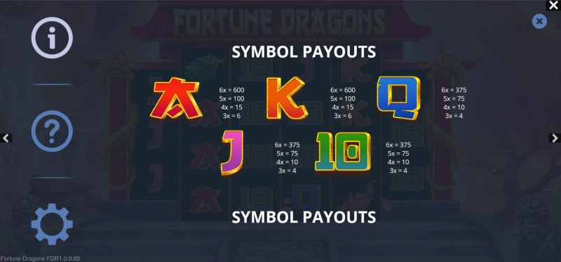 Fortune Dragons :: Paytable - Low Value Symbols