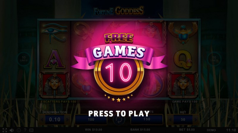 Fortune Goddess :: 10 free spins awarded