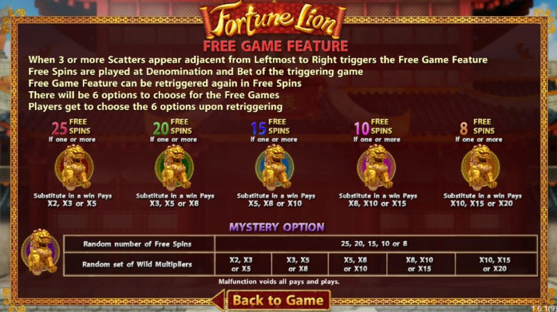 Fortune Lion :: Free Spins Rules
