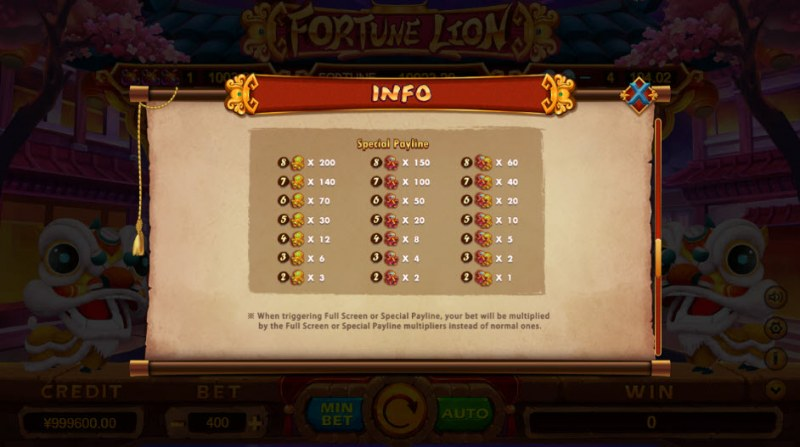 Fortune Lion :: Special Payline