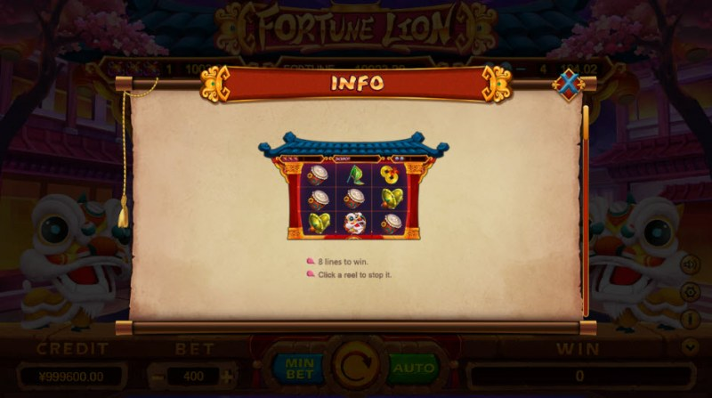 Fortune Lion :: 8 Lines to Win