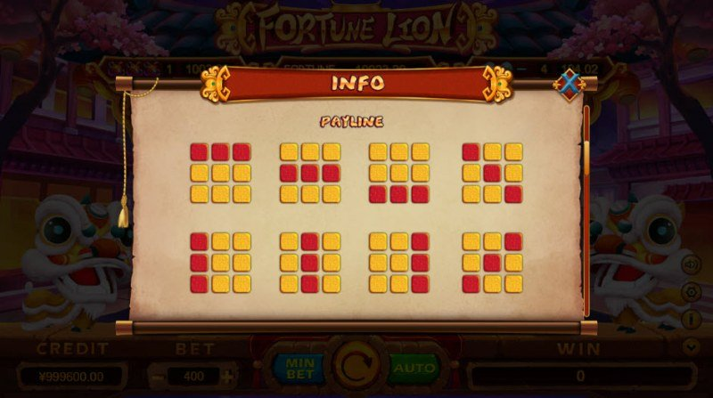Fortune Lion :: Paylines 1-8
