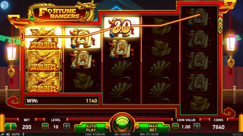 Fortune Rangers :: Linked reels triggers multiple winning paylines