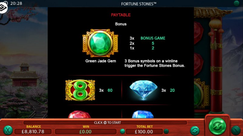 Fortune Stones :: Paytable - High Value Symbols
