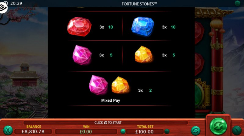 Fortune Stones :: Paytable - Low Value Symbols