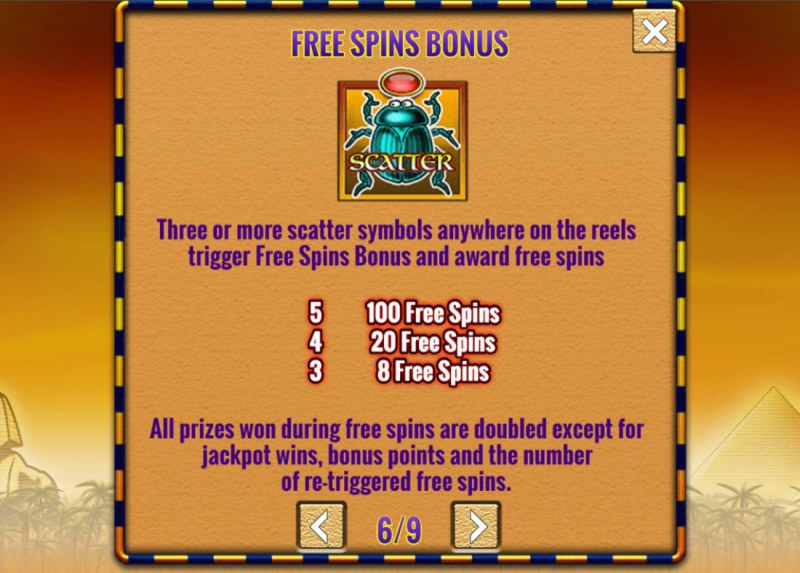 Fortunes of Egypt :: Free Spin Feature Rules