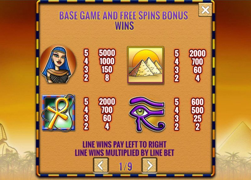 Fortunes of Egypt :: Paytable - High Value Symbols