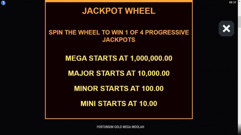 Fortunium Gold Mega Moolah :: Jackpot Wheel
