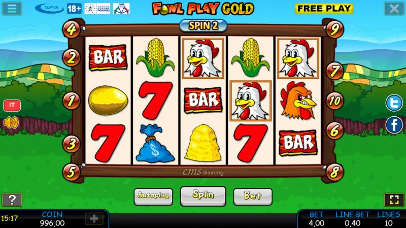 Fowl Play Gold :: Scatter symbols triggers bonus feature