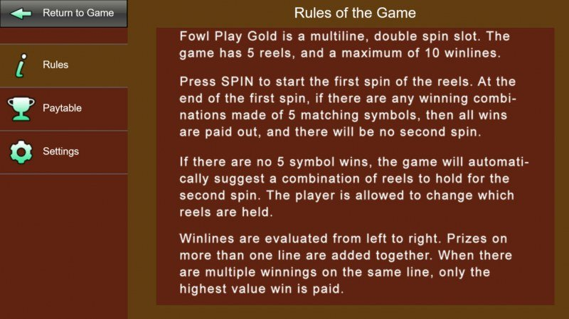 Fowl Play Gold :: General Game Rules