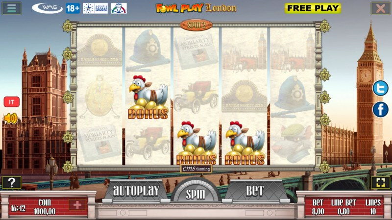 Fowl Play London :: Scatter symbols triggers bonus feature