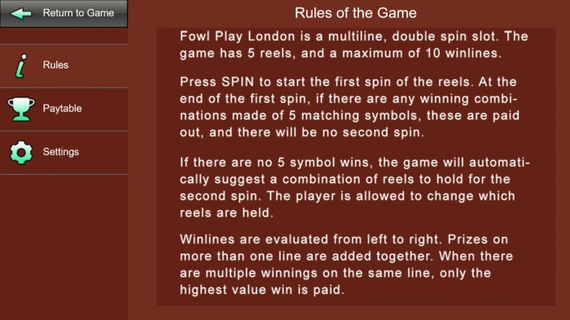 Fowl Play London :: General Game Rules