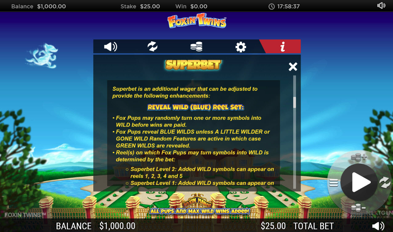 Play slots at Roxy Palace: Roxy Palace featuring the Video Slots Foxin' Twins with a maximum payout of $6,250