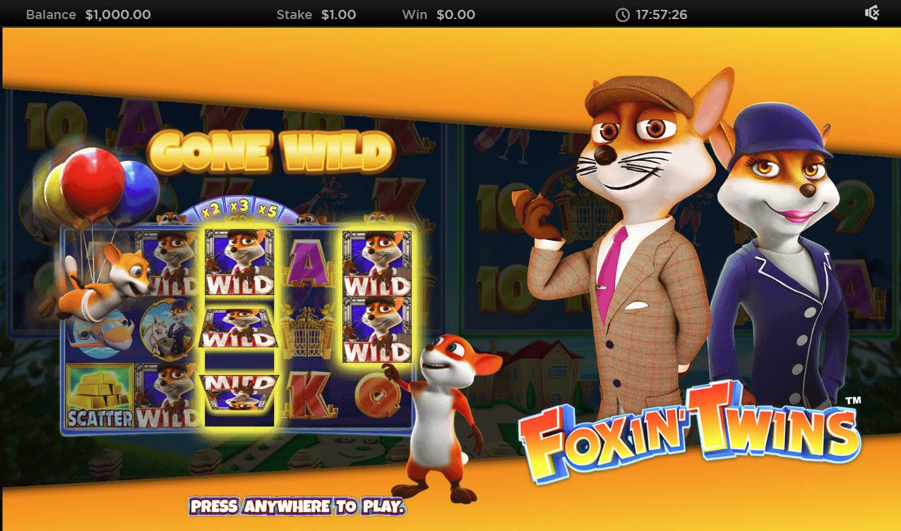 Play slots at Slotty Vegas: Slotty Vegas featuring the Video Slots Foxin' Twins with a maximum payout of $6,250