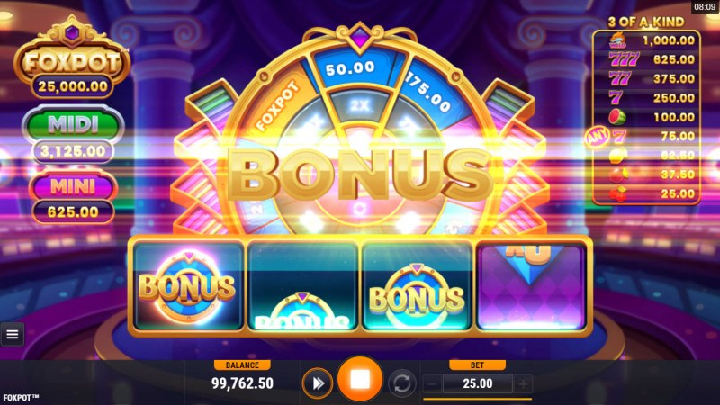 Foxpot :: One or more bonus scatters triggers the Bonus Wheel feature