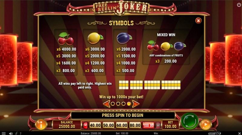 Free Reelin Joker :: Paytable - Low Value Symbols
