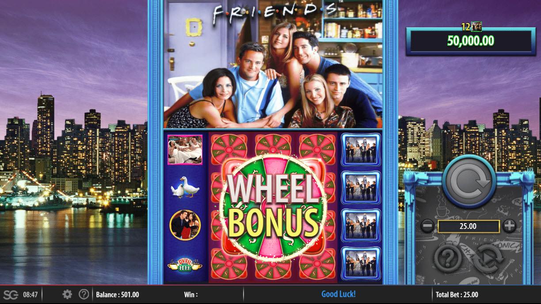 Friends :: Wheel Bonus feature triggered by landing 3 full stacks