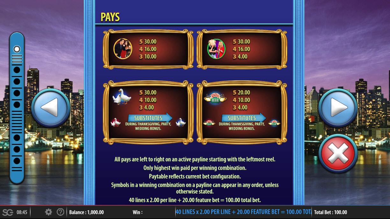 Friends :: Paytable - Low Value Symbols