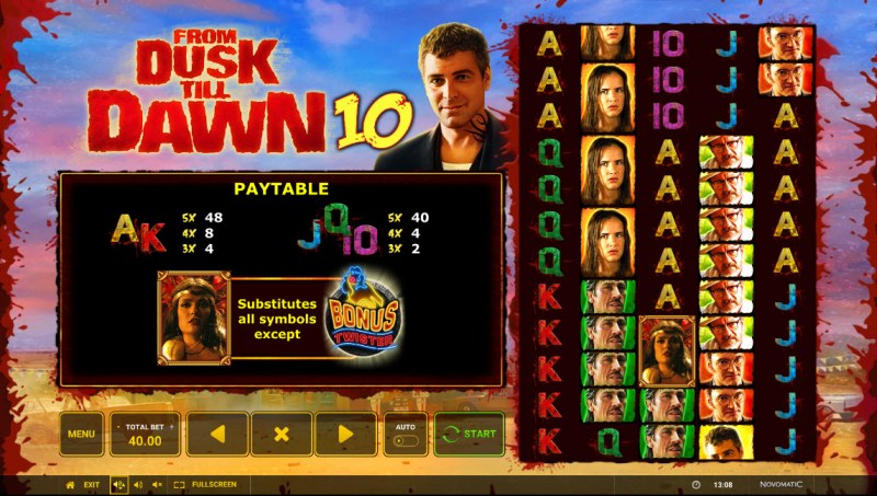 From Dusk till Dawn 10 :: Paytable - Low Value Symbols