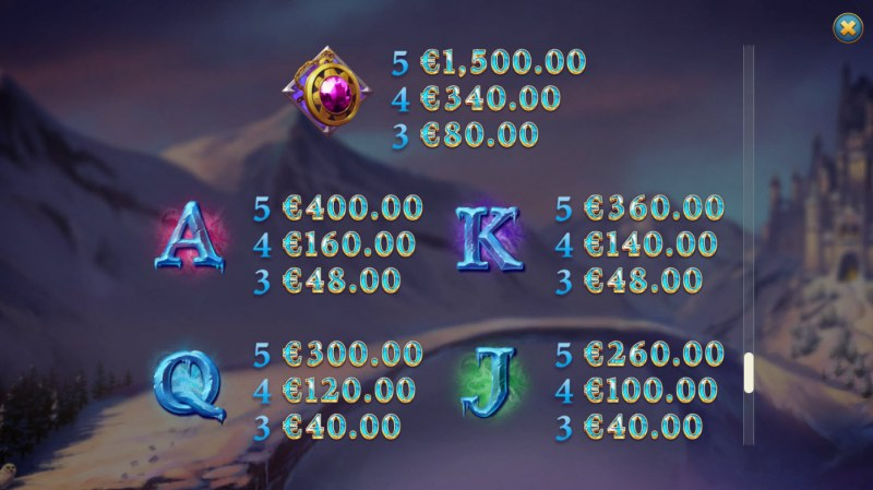 Frost Queen Jackpots :: Paytable - Low Value Symbols