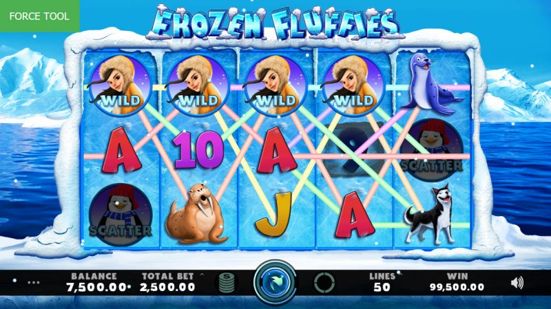 Frozen Fluffies :: Multiple winning combinations leads to a big win