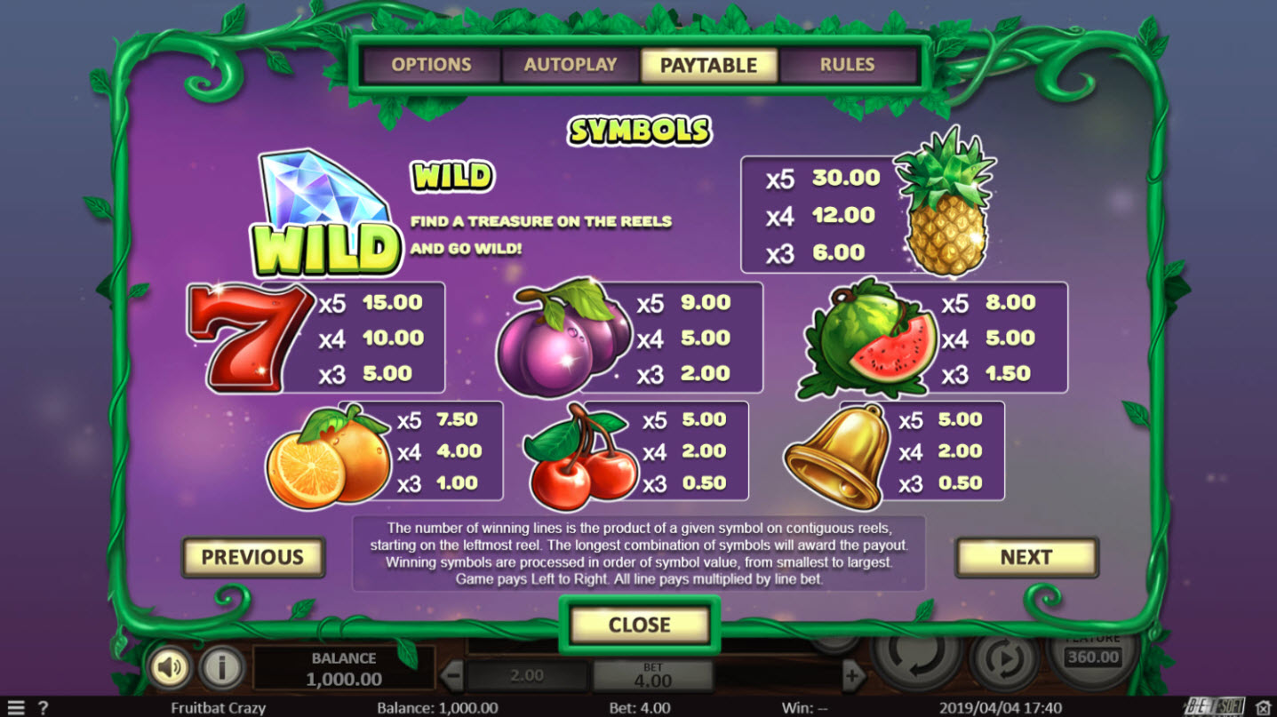 Play slots at Planet Casino: Planet Casino featuring the Video Slots Fruit Bat Crazy with a maximum payout of $47,850