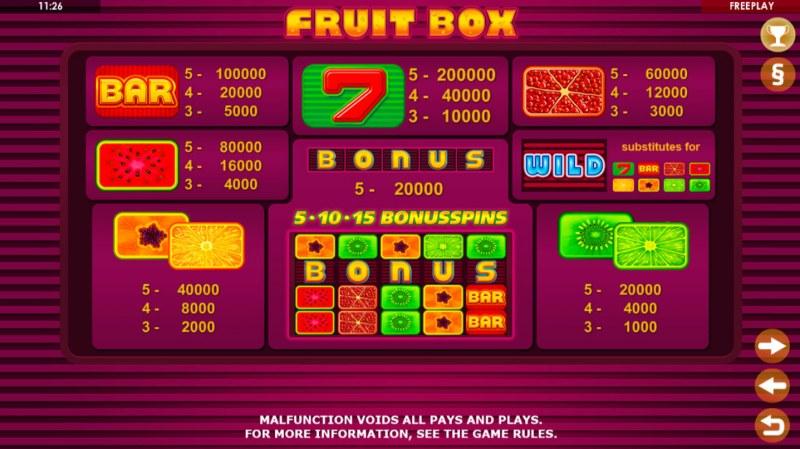 Fruit Box :: Paytable