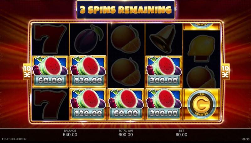 Fruit Collector :: Five spins to land additional cash pot symbols