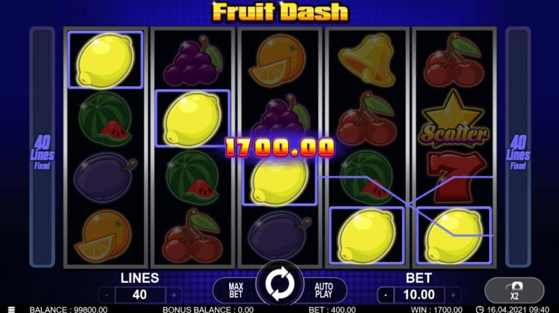 Fruit Dash :: A five of a kind win