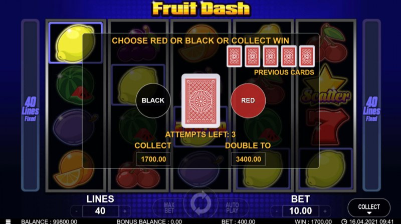 Fruit Dash :: Red or Black Gamble Feature