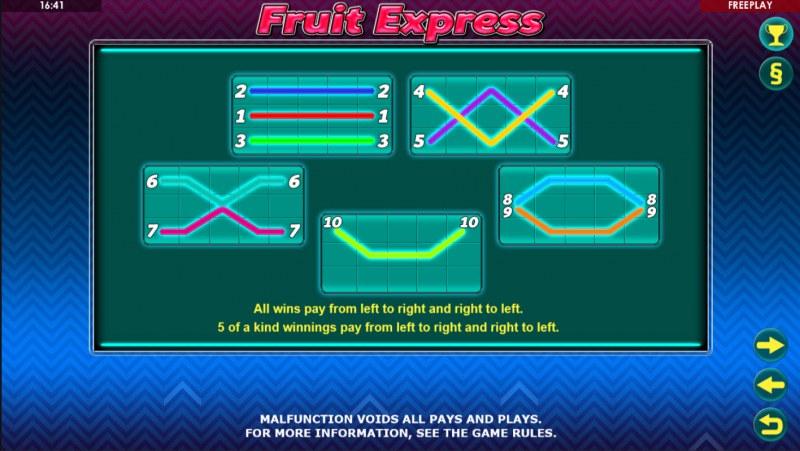 Fruit Express :: Paylines 1-10