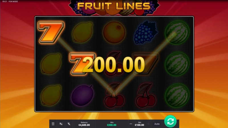 Fruit Lines :: Two of a kind win