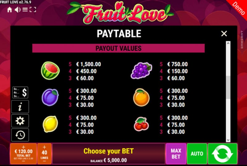 Fruit Love :: Paytable