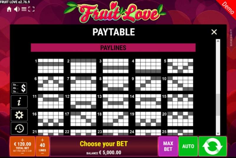 Fruit Love :: Paylines 1-20