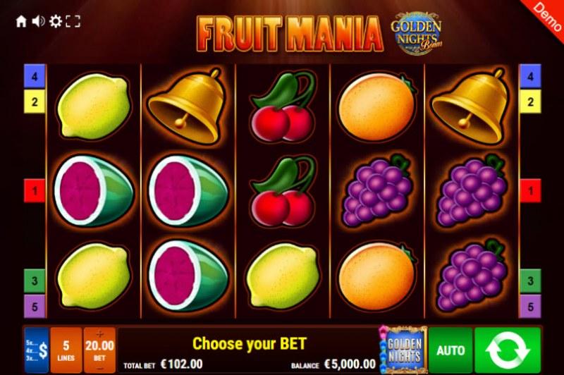 Fruit Mania Golden Nights Bonus :: Main Game Board