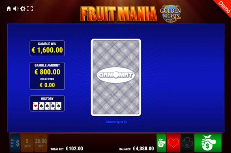 Fruit Mania Golden Nights Bonus :: Red or Black Gamble Feature