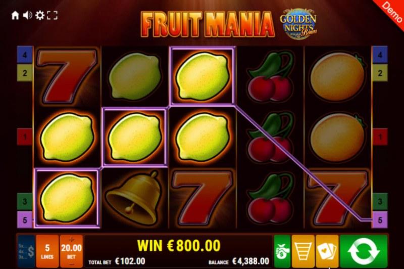 Fruit Mania Golden Nights Bonus :: Three of a kind win