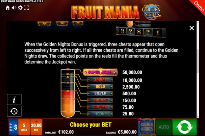 Fruit Mania Golden Nights Bonus :: Bonus Game Rules