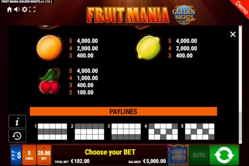 Fruit Mania Golden Nights Bonus :: Paylines 1-5