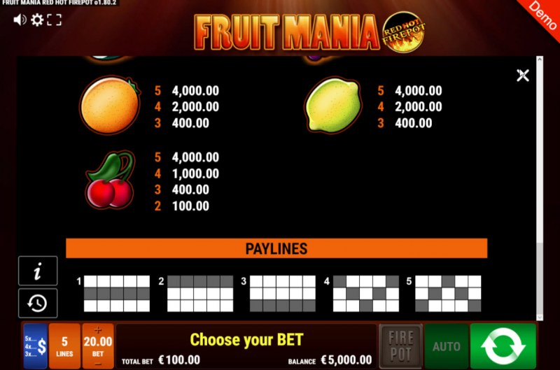 Fruit Mania Red Hot Fire Pot :: Paytable