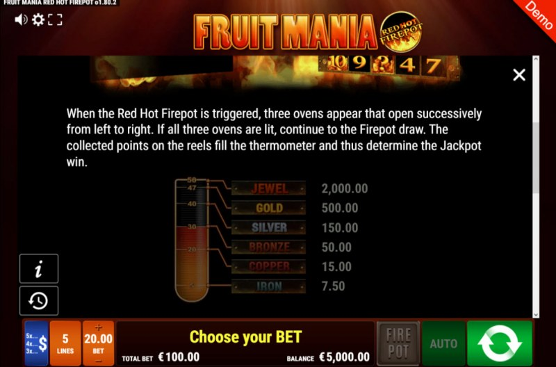 Fruit Mania Red Hot Fire Pot :: Jackpot Rules