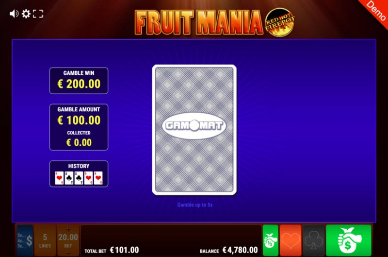 Fruit Mania Red Hot Fire Pot :: Black or Red Gamble Feature